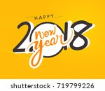 creative happy new year 2018... | Shutterstock .eps vector #719799226