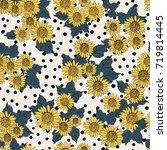 sunflower seamless pattern.... | Shutterstock .eps vector #719814445