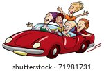 happy teens racing in the red... | Shutterstock .eps vector #71981731