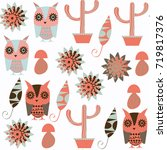 owls abstract nature animals... | Shutterstock .eps vector #719817376