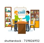 businessman in office work... | Shutterstock . vector #719826952