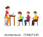 young teacher  holds a lecture... | Shutterstock . vector #719827135