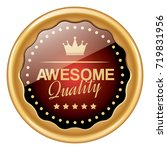 awesome quality badge | Shutterstock .eps vector #719831956