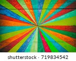 Colorful Stripes On Wood Panel...