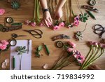 workshop florist. the hand of... | Shutterstock . vector #719834992