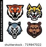 set logo head wildlife template | Shutterstock .eps vector #719847022