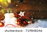 candels with christmas... | Shutterstock . vector #719848246