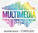 multimedia word cloud ... | Shutterstock .eps vector #719851102