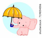 cute pink elephant and umbrella | Shutterstock . vector #719854006
