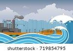 tsunami  flood disaster  vector ... | Shutterstock .eps vector #719854795