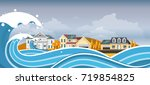 tsunami  flood disaster  vector ... | Shutterstock .eps vector #719854825