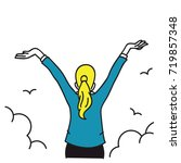 happy businesswoman standing...   Shutterstock .eps vector #719857348