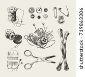 ink drawn sewing set with... | Shutterstock .eps vector #719863306
