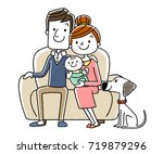 family sitting on a couch   Shutterstock .eps vector #719879296