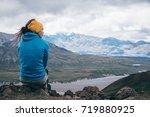 girl is enjoying  the landscape ... | Shutterstock . vector #719880925