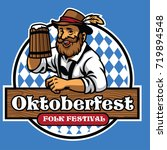 badge of oktoberfest with old... | Shutterstock .eps vector #719894548