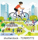 park life  cycling | Shutterstock .eps vector #719895772