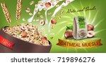 oatmeal muesli ads. vector... | Shutterstock .eps vector #719896276