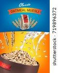 oatmeal muesli ads. vector... | Shutterstock .eps vector #719896372