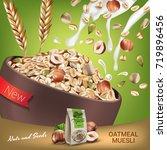 oatmeal muesli ads. vector... | Shutterstock .eps vector #719896456