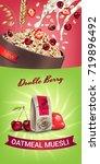 oatmeal muesli ads. vector... | Shutterstock .eps vector #719896492