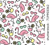 seamless summer flamingo... | Shutterstock .eps vector #719903362