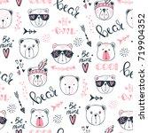 vector fashion bear seamless... | Shutterstock .eps vector #719904352
