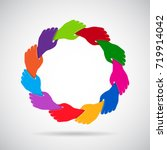 hands holding in circle.... | Shutterstock .eps vector #719914042