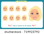 set of woman expression... | Shutterstock .eps vector #719923792