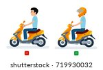 the guy rides a moped with a... | Shutterstock .eps vector #719930032