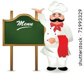 chef with board for menu | Shutterstock .eps vector #71993329