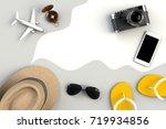 top view of traveler's... | Shutterstock . vector #719934856