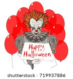 evil clown wiith red ballons | Shutterstock .eps vector #719937886
