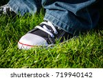 blue jeans and black and white... | Shutterstock . vector #719940142