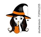halloween witch vector... | Shutterstock .eps vector #719941255