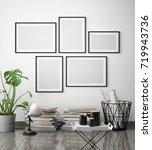 mock up poster frame in hipster ... | Shutterstock . vector #719943736