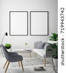 mock up poster frame in hipster ... | Shutterstock . vector #719943742