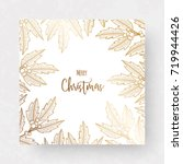 christmas golden card with... | Shutterstock .eps vector #719944426