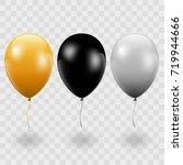 set. air balls. gold. black.... | Shutterstock .eps vector #719944666