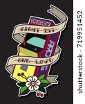8 bit 1 love arcade machine... | Shutterstock .eps vector #719951452