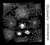 halloween set of spider web and ... | Shutterstock .eps vector #719959732