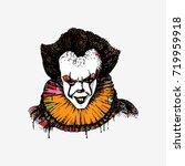 evil killer clown. hand drawn... | Shutterstock .eps vector #719959918