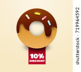 cartoon donut with red ribbon... | Shutterstock .eps vector #719964592