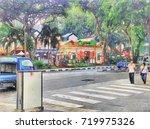 scenery of garden  buildings... | Shutterstock . vector #719975326