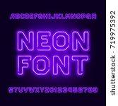 purple neon tube alphabet font. ... | Shutterstock .eps vector #719975392
