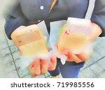 ice cream hawker  at singapore  ... | Shutterstock . vector #719985556