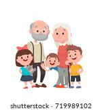 grandparents with their three... | Shutterstock .eps vector #719989102
