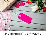 rose flowers and hearts with...   Shutterstock . vector #719992042