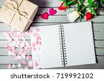 rose flowers and hearts with...   Shutterstock . vector #719992102