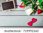 rose flowers and hearts with...   Shutterstock . vector #719992162